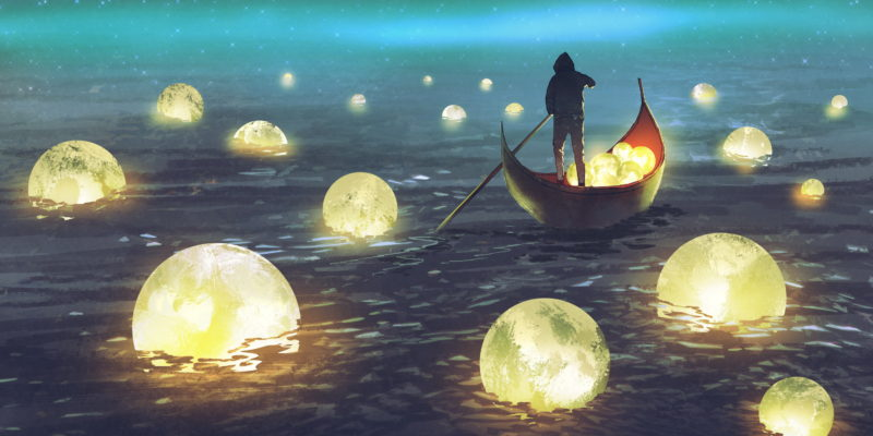 illustration of person in rowboat scooping up glowing moons