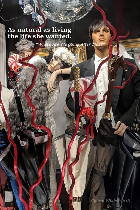 dressed up mannequins in storefront