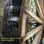 close up of working waterwheel