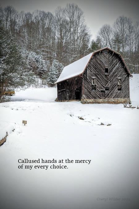 100-year-old tobacco barn on snowy mountainside
